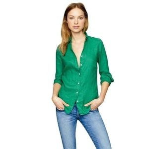 J Crew The Perfect Shirt Kelly Green Long Linen